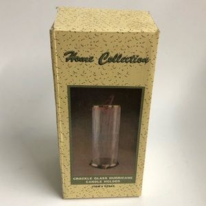 Home collection cracked glass hurricane candle hld